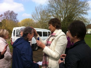 Shirley Bowers anointing Gill Eggleton before the prayer walk